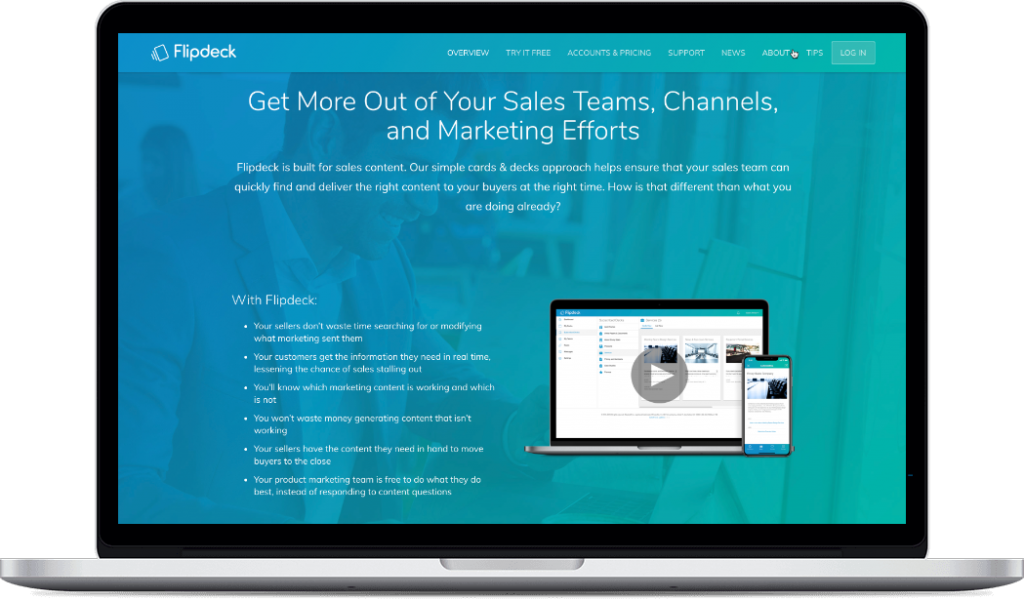 Flipdeck Sales Enablement | Sales Content