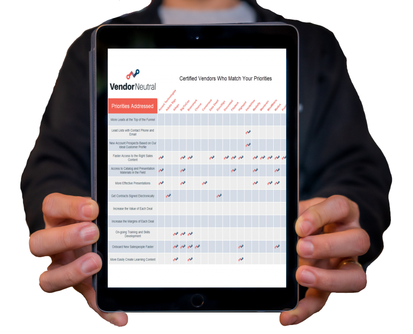Get Matched to the Sales Technology That Meets Your Priorities Image of man holding report