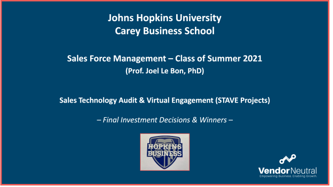 Sales Technology Audit & Virtual Engagement (STAVE) project Winners